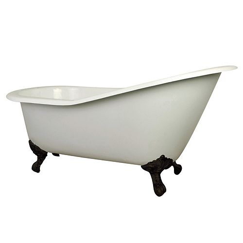 5 ft. Cast Iron Oil Rubbed Bronze Claw Foot Slipper Tub with 7 inch Deck Holes in White