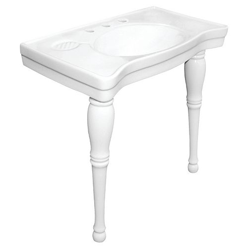 Kingston Brass Console Table and Pedestal Legs Combo in White