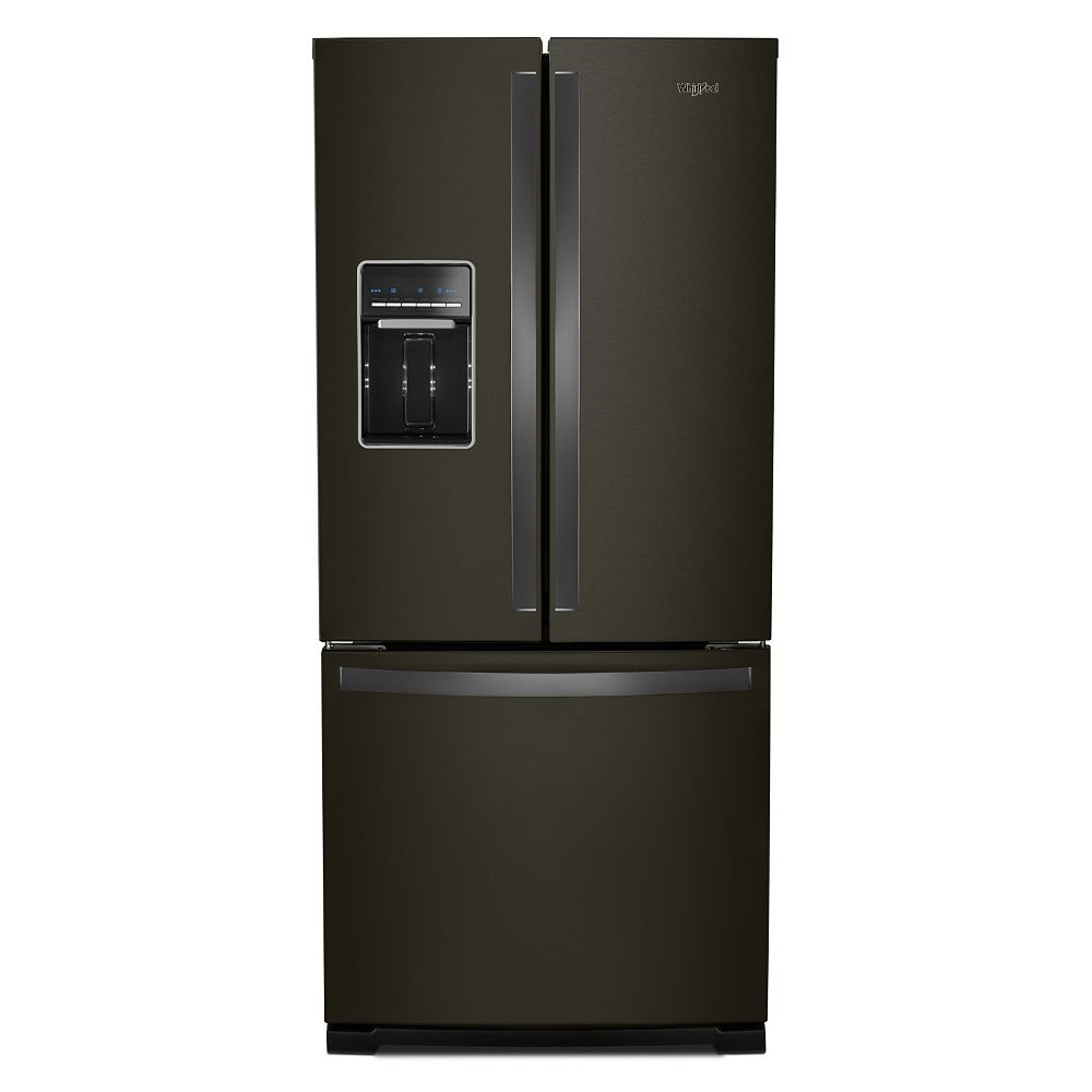 Whirlpool 30-inch W 20 cu.ft  French Door Refrigerator in Fingerprint Resistant Black Stainless Steel
