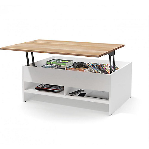 Small Space 37 inch Lift-Top Storage Coffee Table with Solid Wood Top Surface - White
