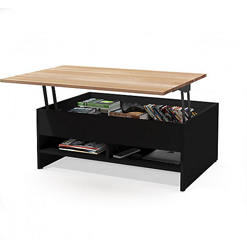 Small Space 37 inch Lift-Top Storage Coffee Table with Solid Wood Top Surface - Black