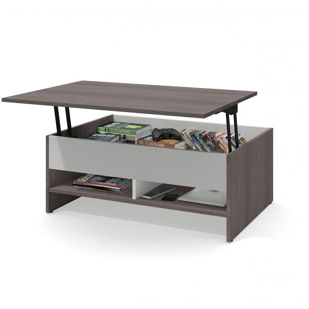 Bestar Small Space 37 Inch Lift Top Storage Coffee Table Bark Gray White The Home Depot Canada