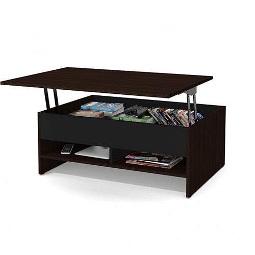 Small Space 37-inch Lift-Top Storage Coffee Table - Dark Chocolate & Black