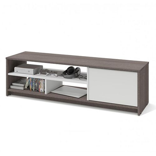 Small Space 53.5-inch TV Stand - Bark Gray & White