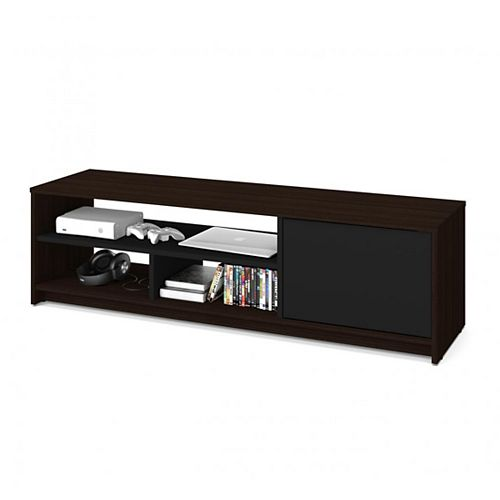 Bestar Small Space 53.5-inch TV Stand - Dark Chocolate & Black