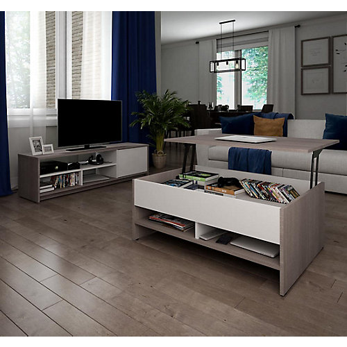 Small Space Ensemble Table à café avec surface mobile et meuble télé - Gris Écorce et Blanc