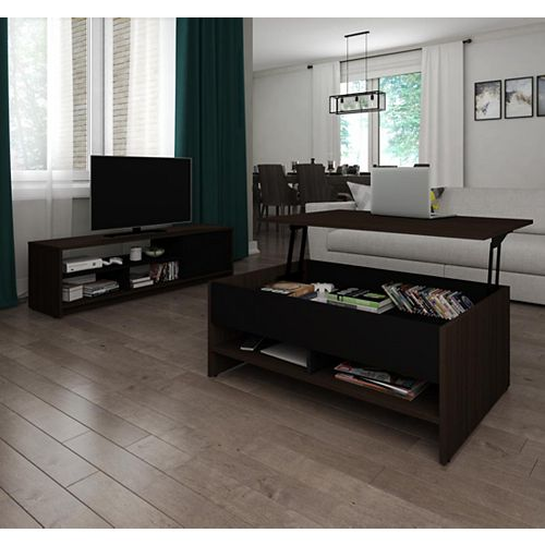 Small Space 2-Piece Lift-Top Storage Coffee Table and TV Stand Set - Dark Chocolate & Black