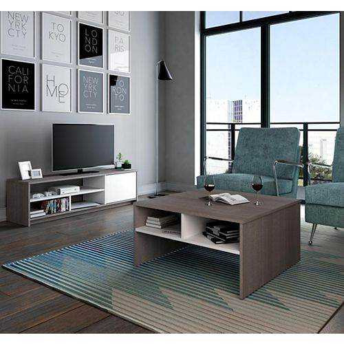 Small Space 2-Piece Storage Coffee Table and TV Stand Set - Bark Gray & White