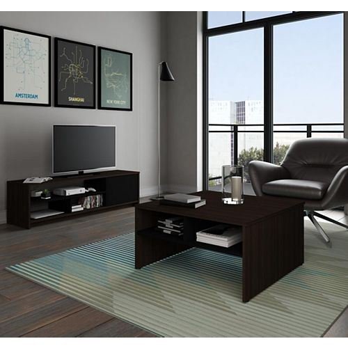 Small Space 2-Piece Storage Coffee Table and TV Stand Set - Dark Chocolate & Black