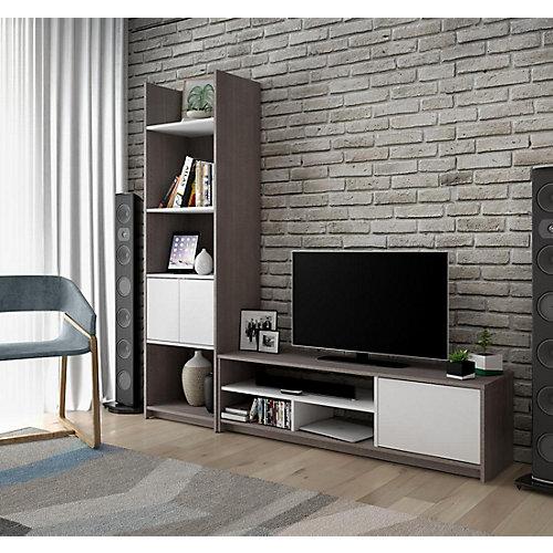 Small Space Ens. 2 pièces: Meuble de télévision et Unité de rangement - Gris Écorce et Blanc