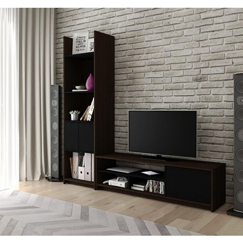 Small Space 2-Piece TV Stand and Storage Tower Set - Dark Chocolate & Black