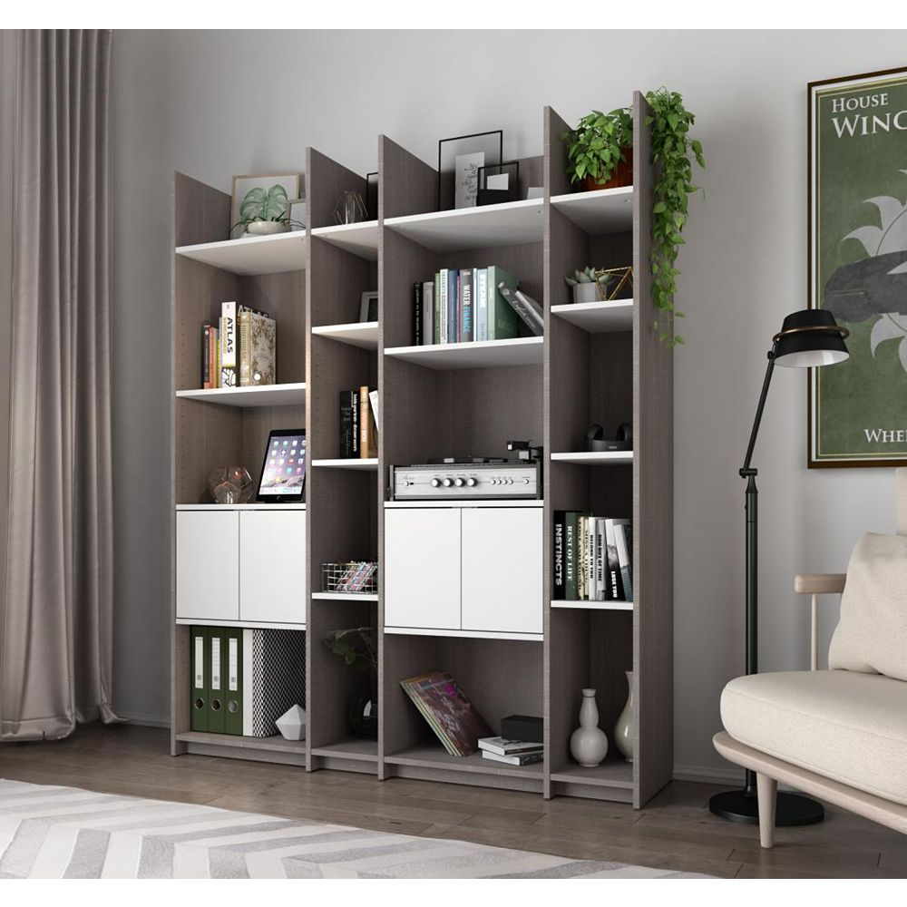 Bestar Small Space Storage Wall Unit - Bark Gray & White