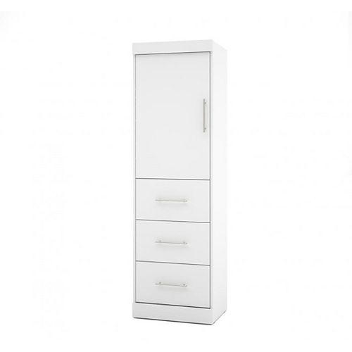 Nebula 25 inch Storage unit with door & drawers - White
