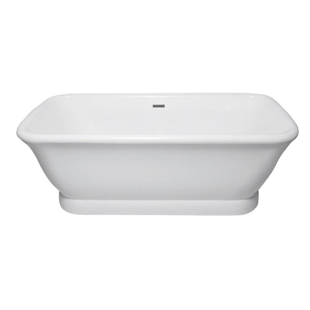 Aqua Eden Grande baignoire moderne double en acrylique blanc de 5,9 pi avec drain centré et fond plat