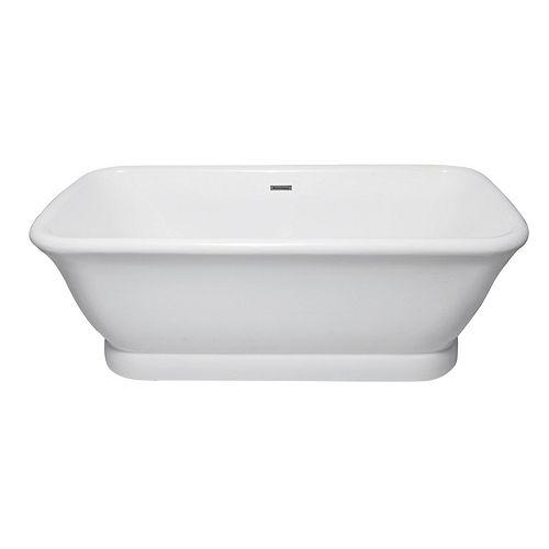 Aqua Eden Large Modern 5.9 ft. Acrylic Center Drain Double Ended Flat-bottom Freestanding Bathtub in White