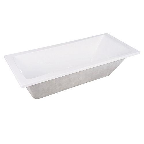 Aqua Eden Contemporary 4.9 ft. Acrylic Rectangular Drop-in Front Drain Bathtub in White