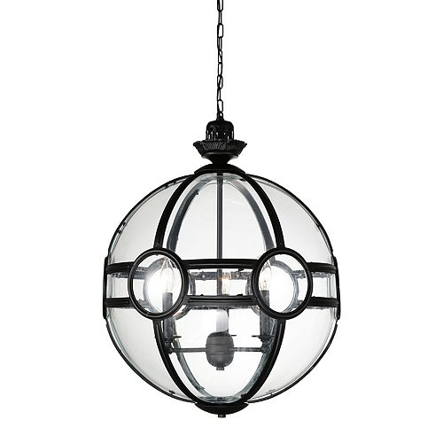 CWI Lighting Beas 14-inch 3 Light Chandelier with Sphere Shape and Black Finish
