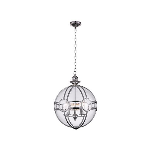 CWI Lighting Beas 25-inch 5 Light Chandelier with Sphere Shape and Chrome Finish