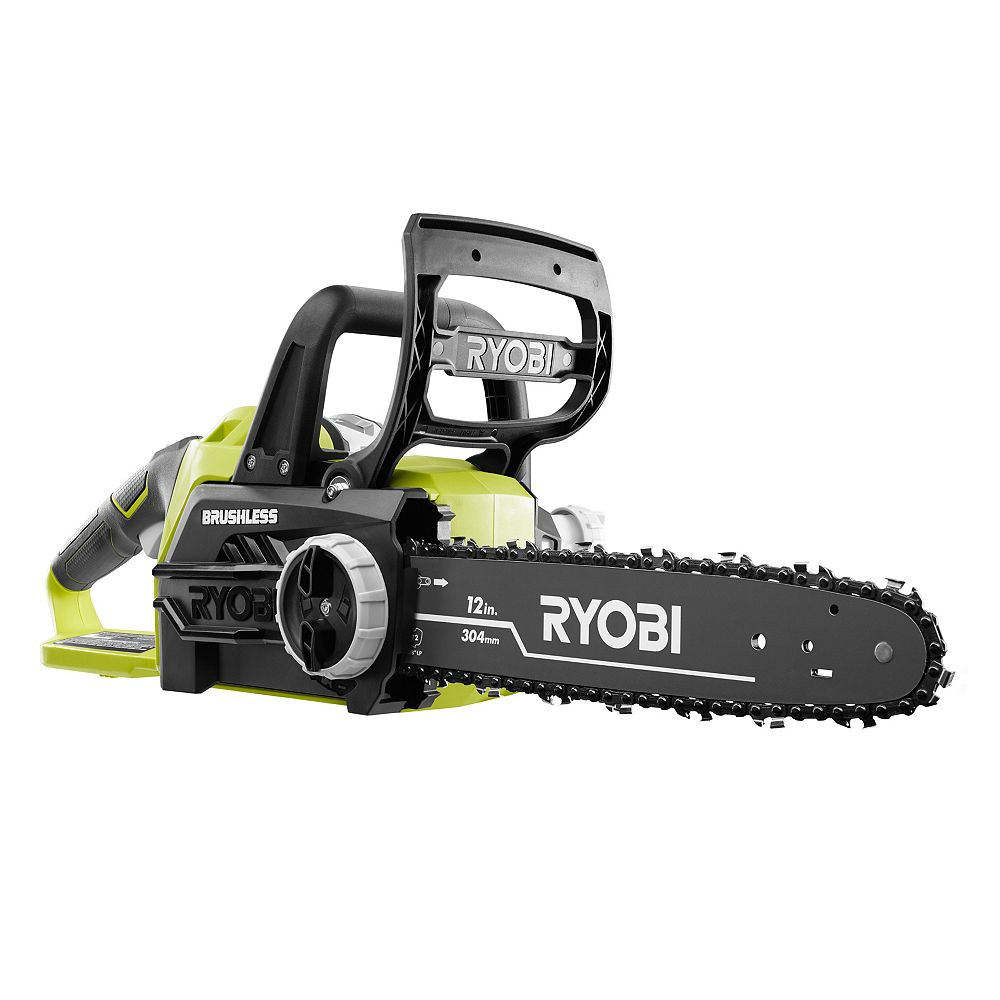 RYOBI 18V ONE+ 12-Inch Brushless Lithium-Ion Electric Cordless Chainsaw with 4.0 Ah Battery