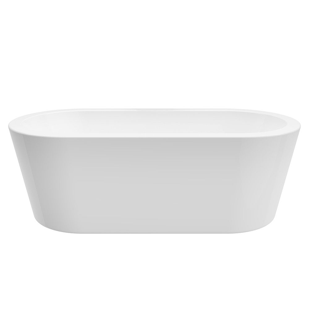A&E Bath and Shower Dexter 71 inch Acrylic Freestanding Flatbottom Bathtub in White No faucet