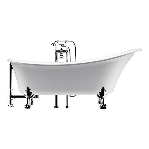 Achilles 69 inch Acrylic Ball and Clawfoot Slipper Bathtub in White All-in-One Kit