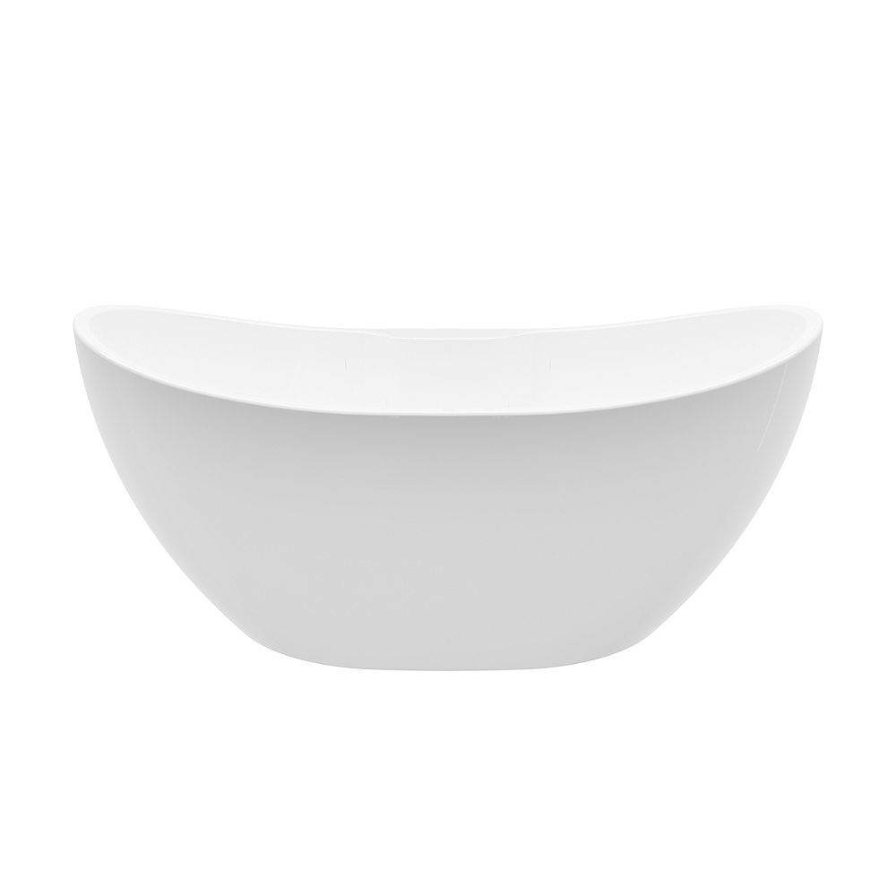 A&E Bath and Shower Boreal 69 inch Acrylic Freestanding Flatbottom Bathtub in White No faucet