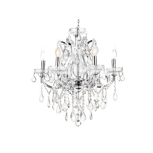 CWI Lighting Maria Theresa 24 inch 6 Light Chandelier with Chrome Finish