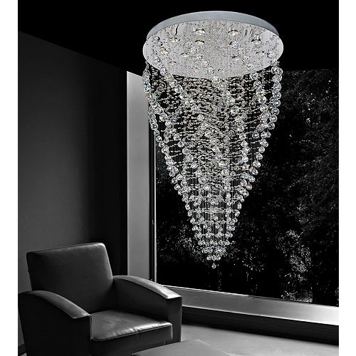 CWI Lighting Twister 31-inch 15 Light Flush Mount with Chrome Finish