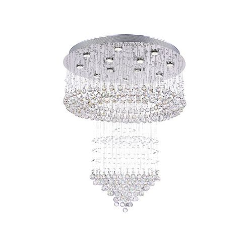 CWI Lighting Waterfall 32-inch 12 Light Flush Mount with Chrome Finish