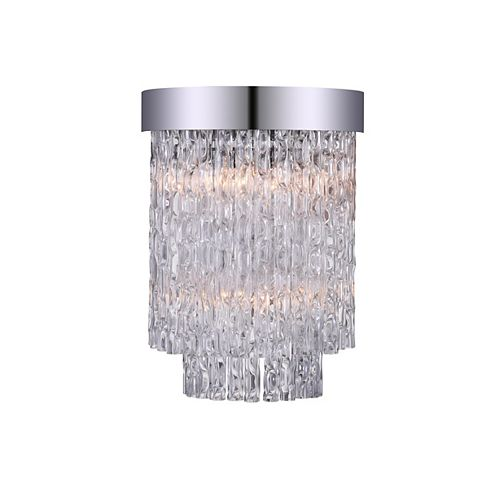 CWI Lighting Carlotta 8-inch 2 Light Wall Sconce with Chrome Finish