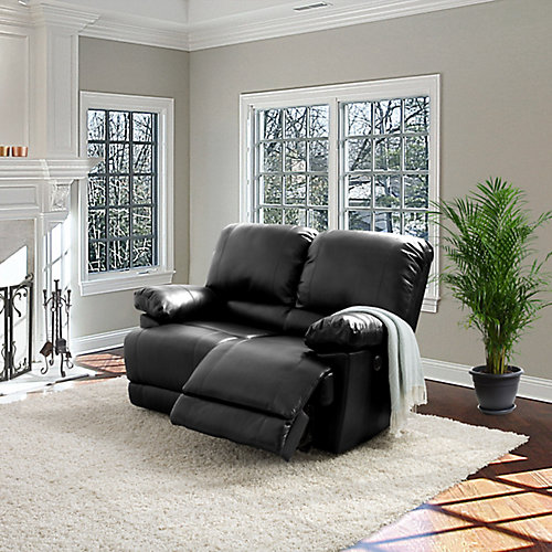 Lea Black Bonded Leather Power Reclining Loveseat With USB Port