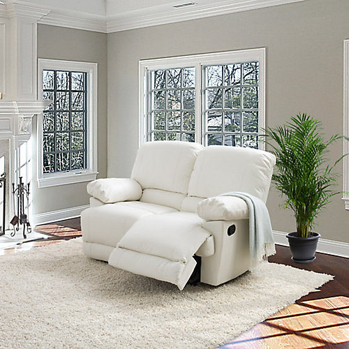 Lea White Bonded Leather Reclining Loveseat