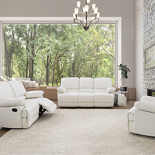 3-Piece Lea White Bonded Leather Reclining Sofa Set