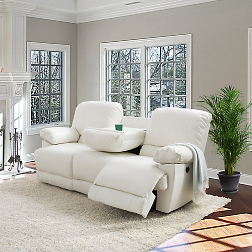 Lea White Bonded Leather Power Reclining Sofa With USB Port