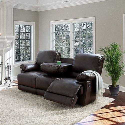 Lea Chocolate Brown Bonded Leather Reclining Sofa