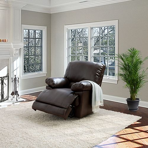Lea Chocolate Brown Bonded Leather Power Recliner With USB Port