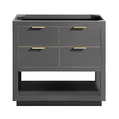 Allie 36 inch Vanity Only in Twilight Gray w/ Gold Trim