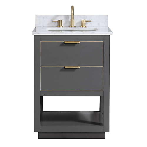Allie 25 inch Vanity Combo in Twilight Gray w/ Gold Trim with Carrera White Marble Top