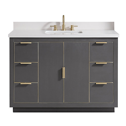 Austen 49 inch Vanity Combo in Twilight Gray w/ Gold Trim with White Quartz Top