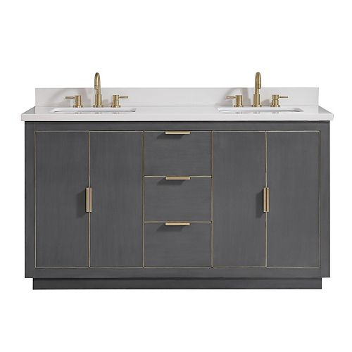 Avanity Austen 61 inch Vanity Combo in Twilight Gray w/ Gold Trim with White Quartz Top