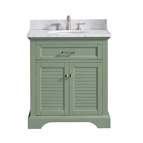 Colton 31 inch Vanity Combo Only in Basil Green with Carrera White Marble Top