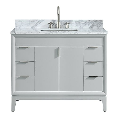 Emma 43 inch Vanity Combo in Dove Gray with Carrera White Marble Top