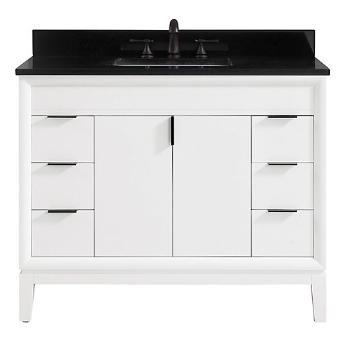 Emma 43 inch Vanity Combo in White with Black Granite Top
