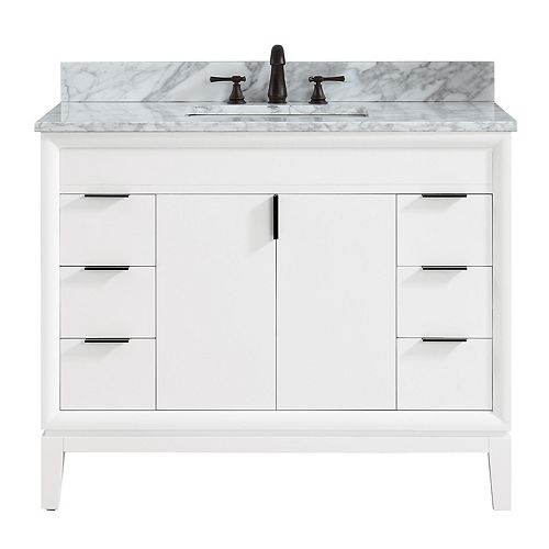 Avanity Emma 43 inch Vanity Combo in White with Carrera White Marble Top