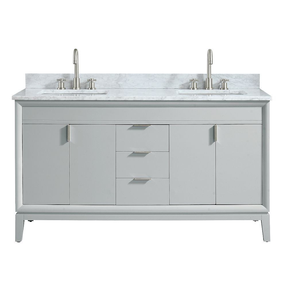 Avanity Emma 61 inch Vanity Combo in Dove Gray with Carrera White Marble Top