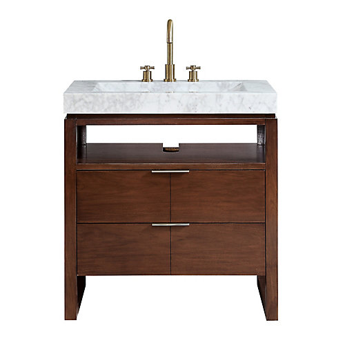 Giselle 33 inch Vanity in Natural Walnut with Integrated Carrera White Marble Top