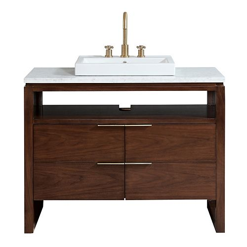 Avanity Giselle 43 inch Vanity in Natural Walnut with Carrera White Marble Top