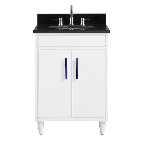 Avanity Layla 25 inch Vanity Combo in White with Black Granite Top