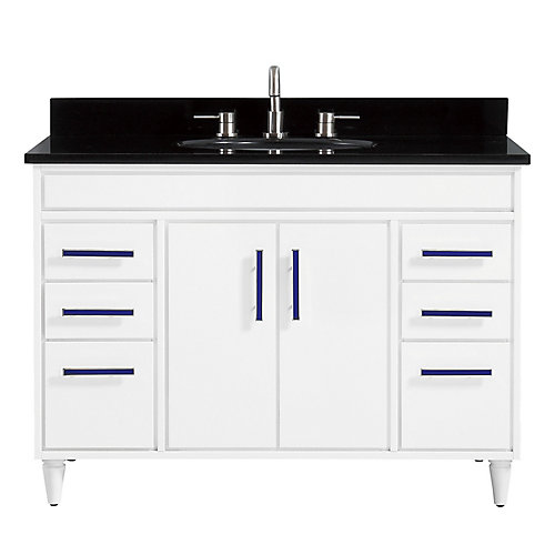 Layla 49 inch Vanity Combo in White with Black Granite Top