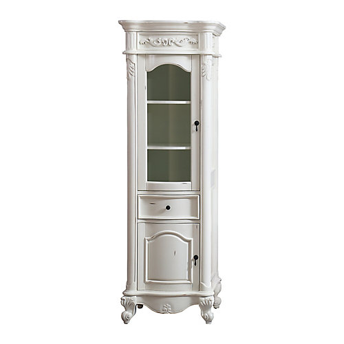 Provence 24 inch Linen Tower in Antique White finish
